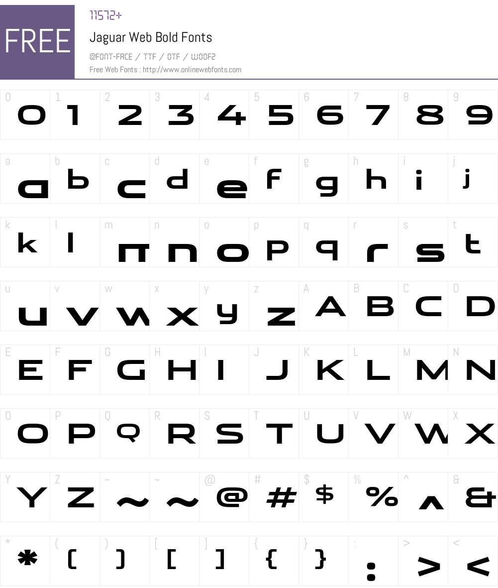 Jaguar Web Font Screenshots