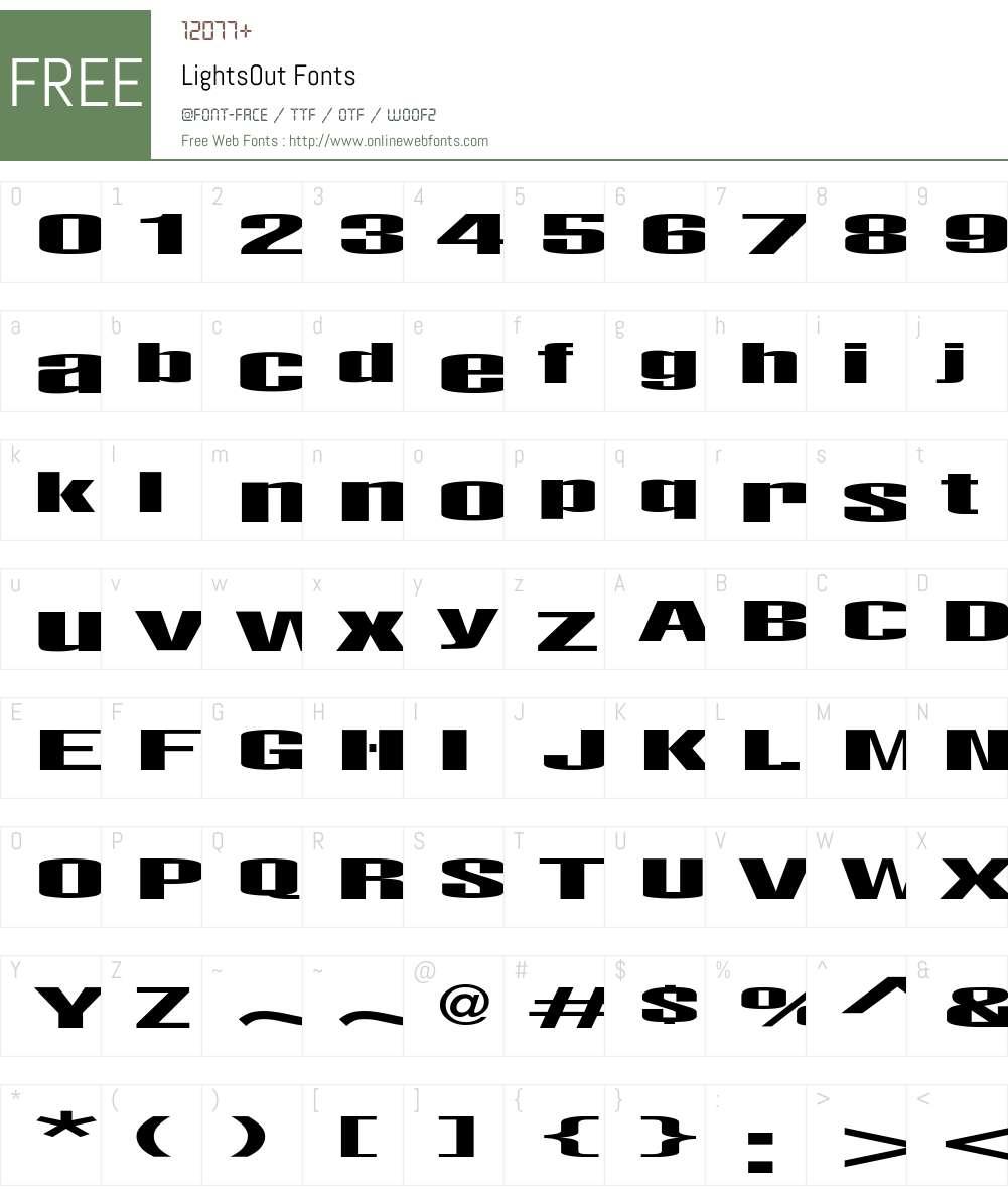 LightsOut Font Screenshots