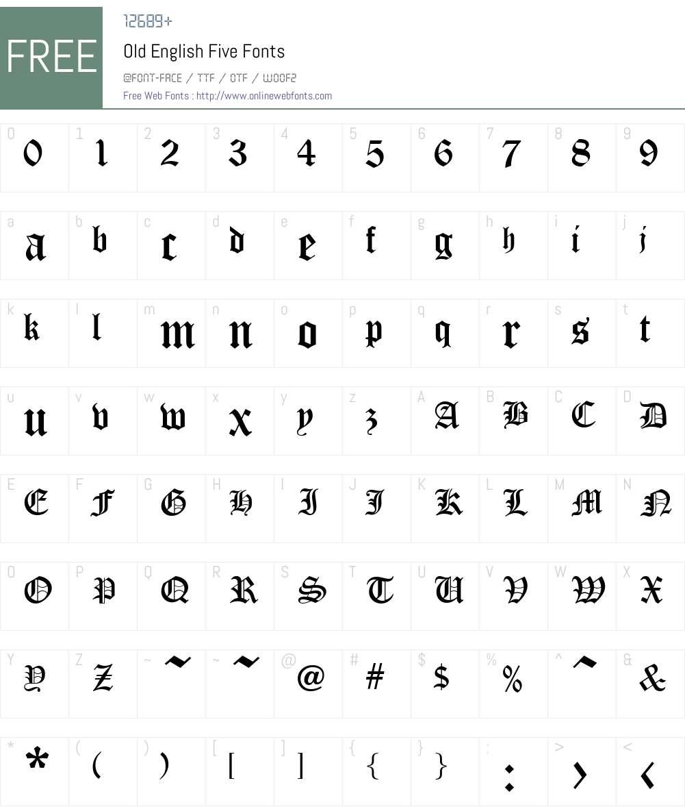 Old English Five Font Screenshots