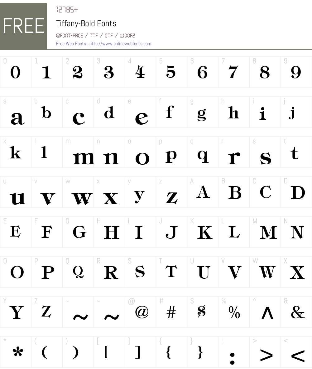 Tiffany-Bold Font Screenshots