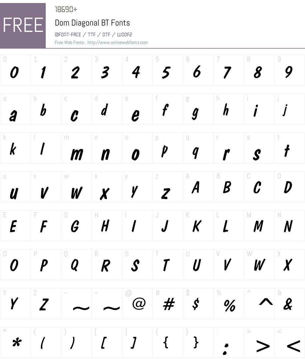 DomDiagonal BT Font Screenshots