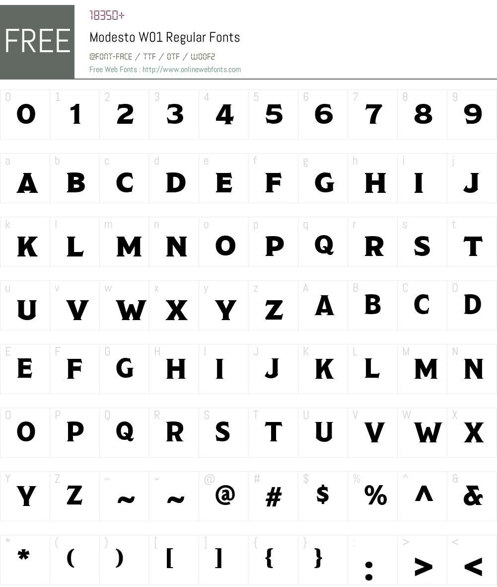 ModestoW01-Regular Font Screenshots