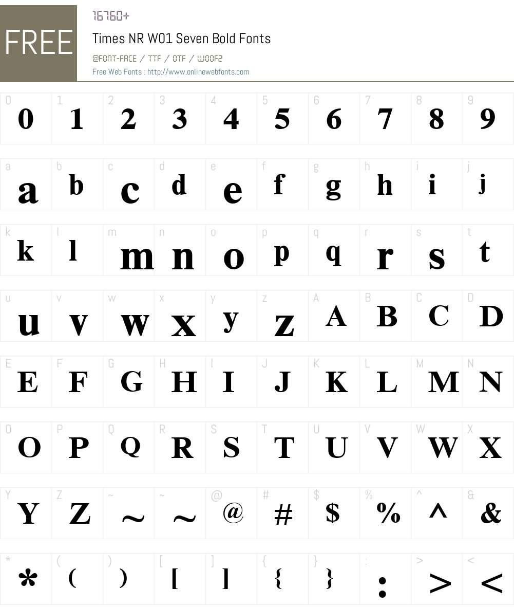 TimesNRW01-SevenBold Font Screenshots