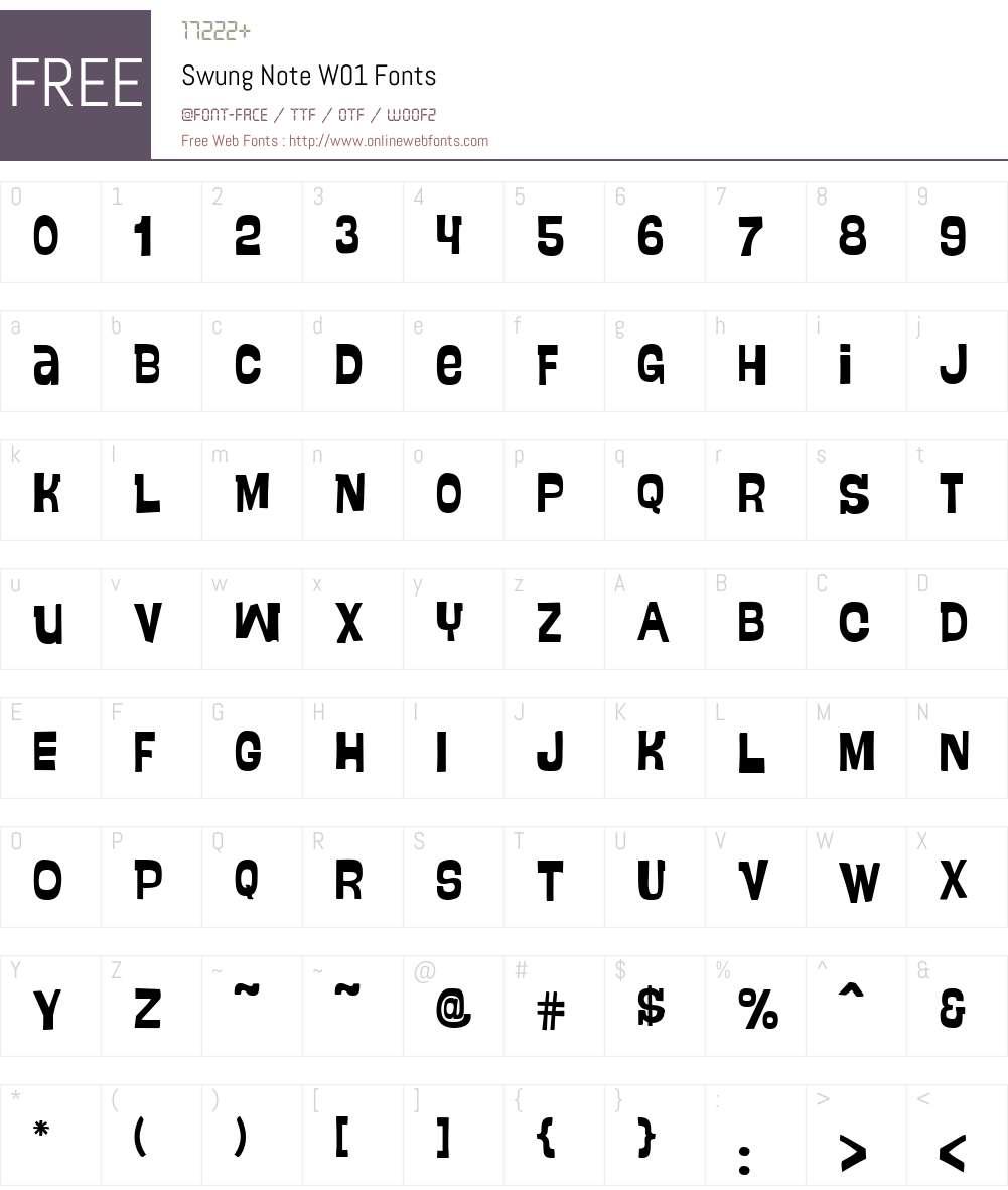SwungNoteW01 Font Screenshots