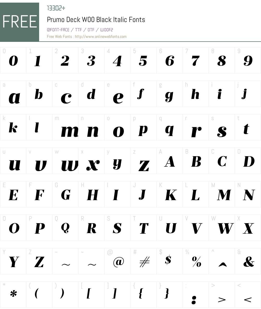 PrumoDeckW00-BlackItalic Font Screenshots