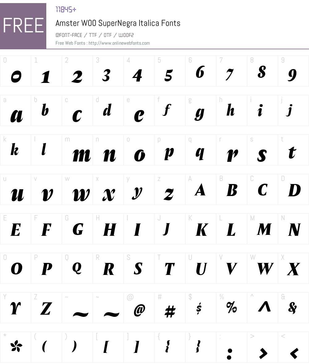 AmsterW00-SuperNegraItalica Font Screenshots