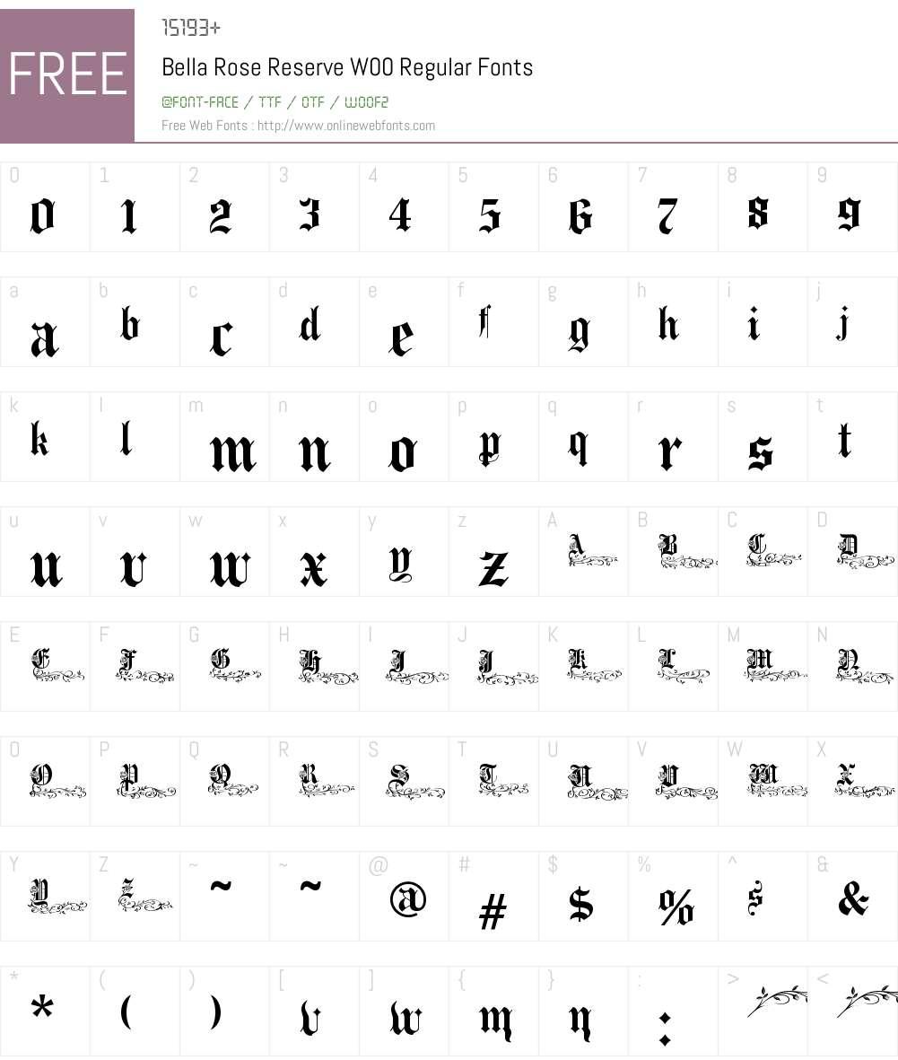 BellaRoseReserveW00-Regular Font Screenshots