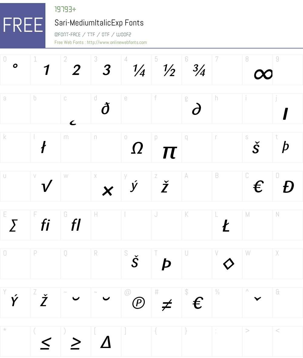 Sari Font Screenshots