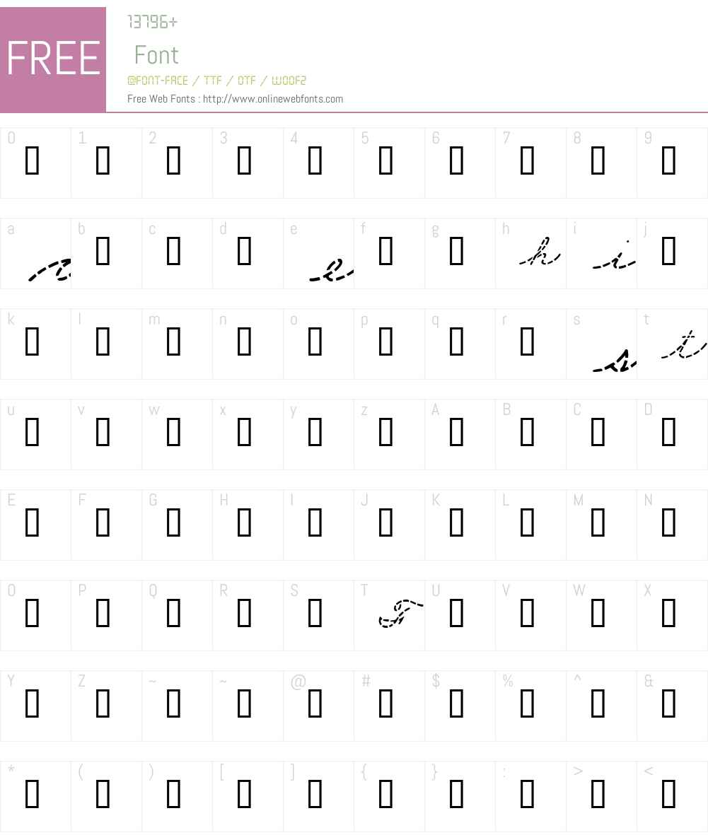 Cursive Sample Font Screenshots