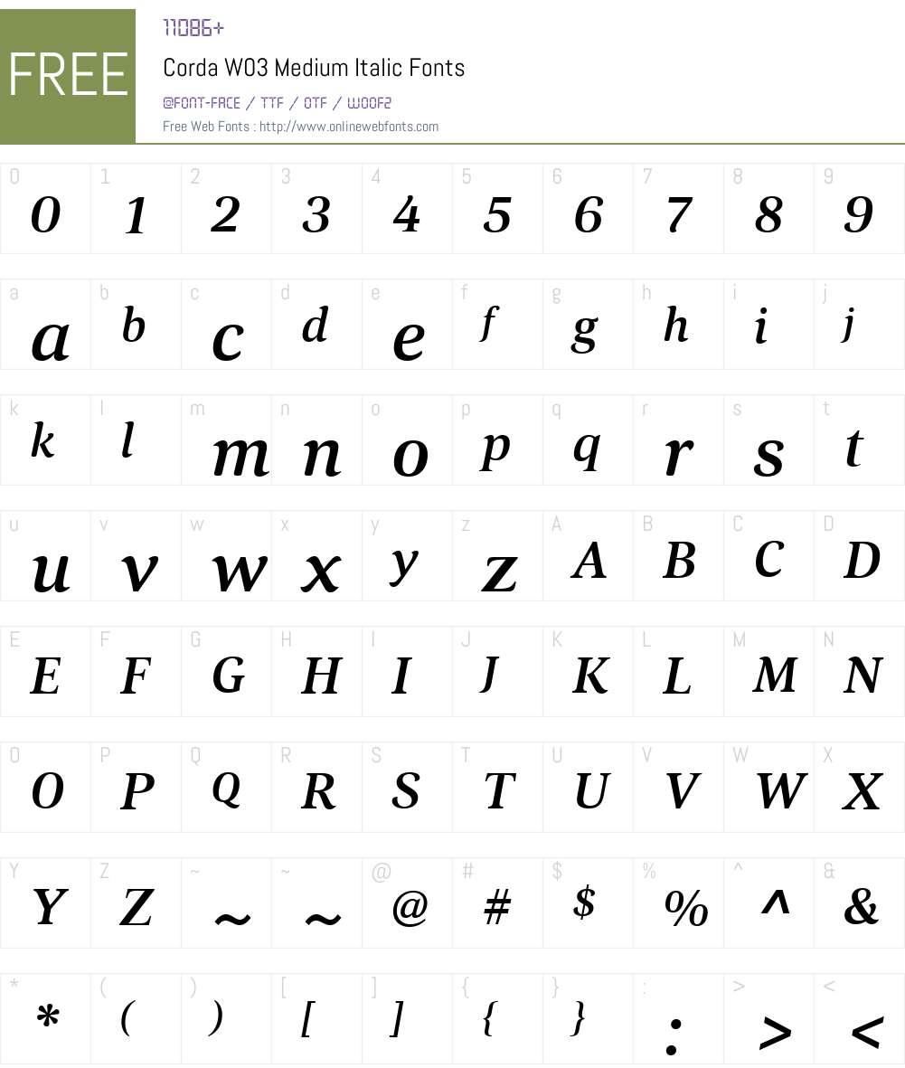 HT Corda Font Screenshots