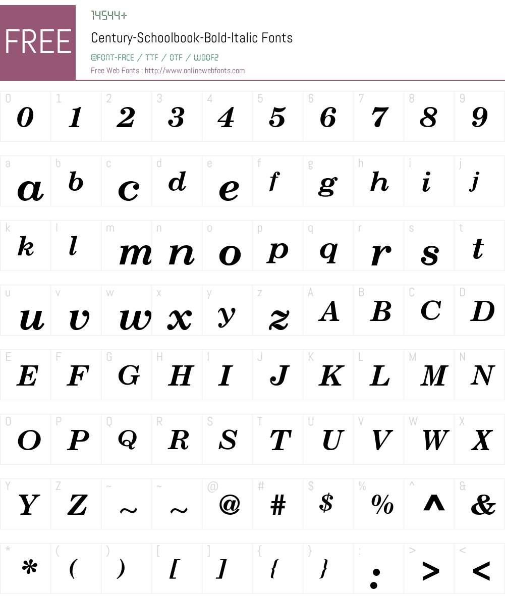 Century-Schoolbook-Bold-Italic Font Screenshots