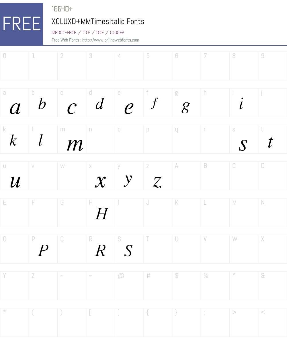 XCLUXD+MMTimesItalic Font Screenshots