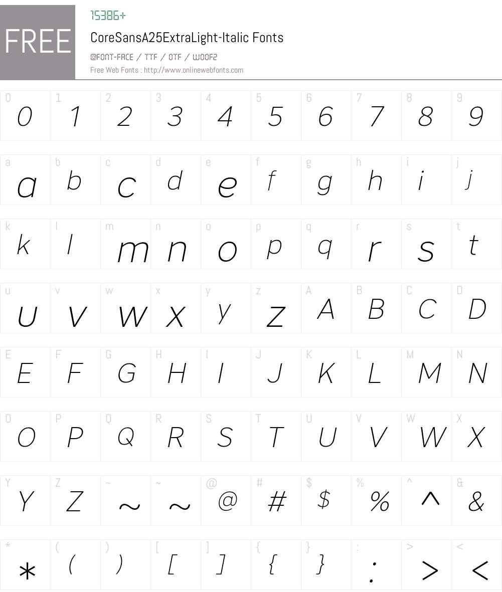 Core Sans A 25 ExtraLight Font Screenshots