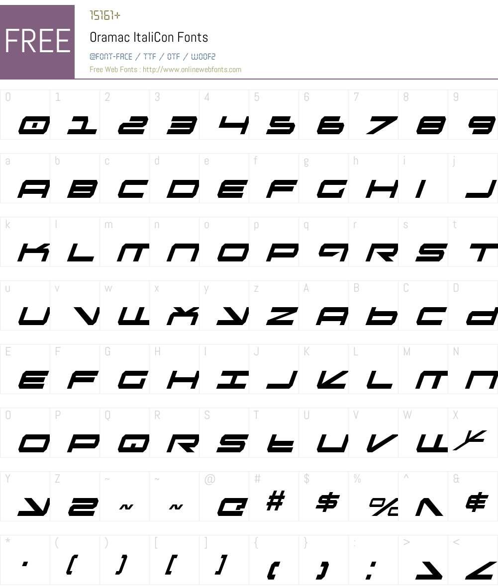 Oramac ItaliCon Font Screenshots