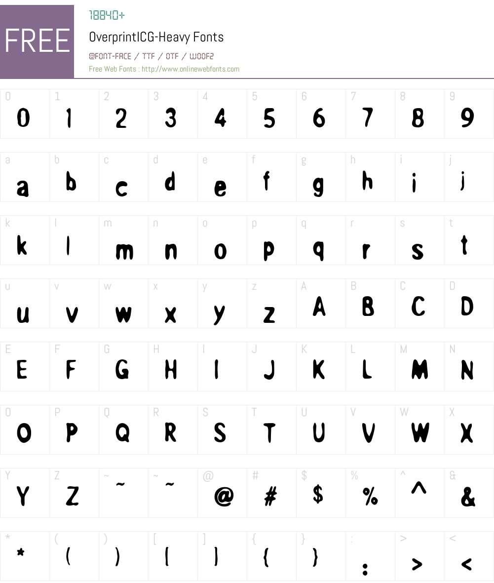 OverprintICG Font Screenshots