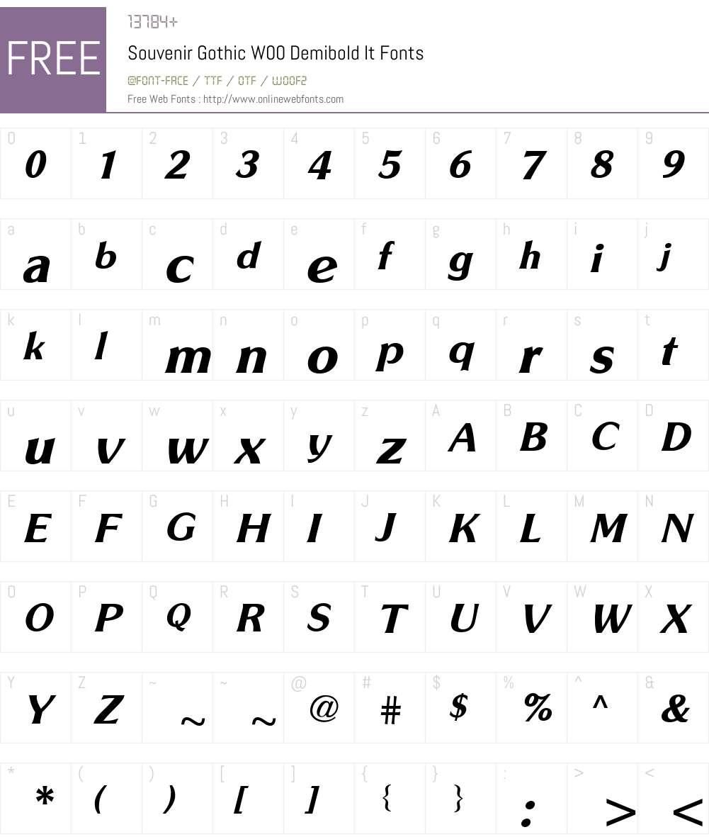 SouvenirGothicW00-DemibdIt Font Screenshots