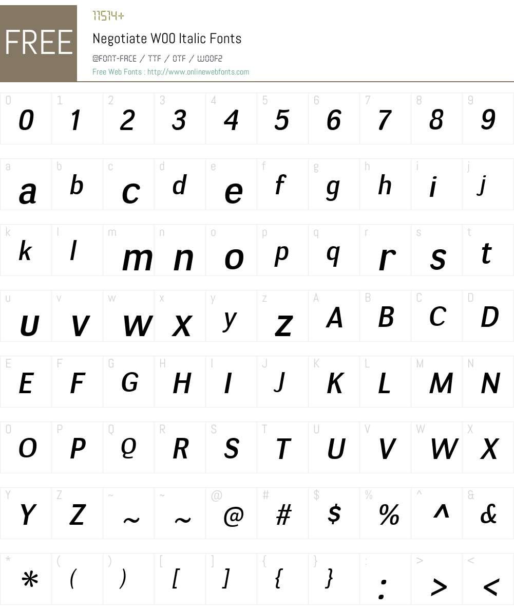 NegotiateW00-Italic Font Screenshots