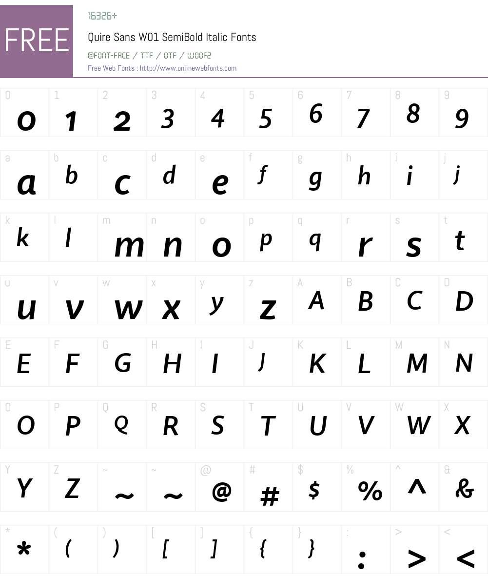 QuireSansW01-SemiBoldIt Font Screenshots