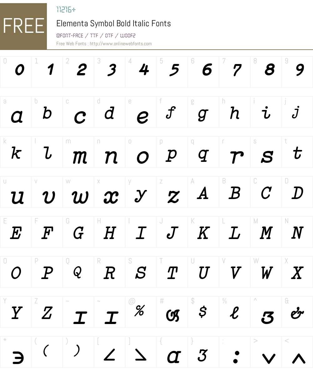 Elementa Symbol Font Screenshots