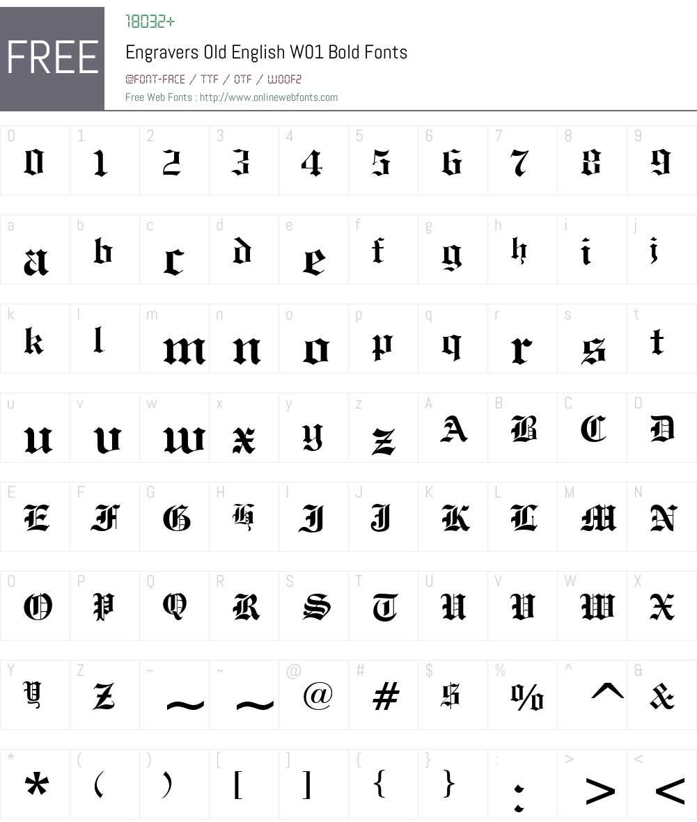EngraversOldEnglishW01-Bold Font Screenshots
