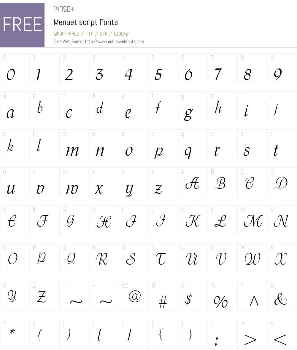 Menuet script Font Screenshots