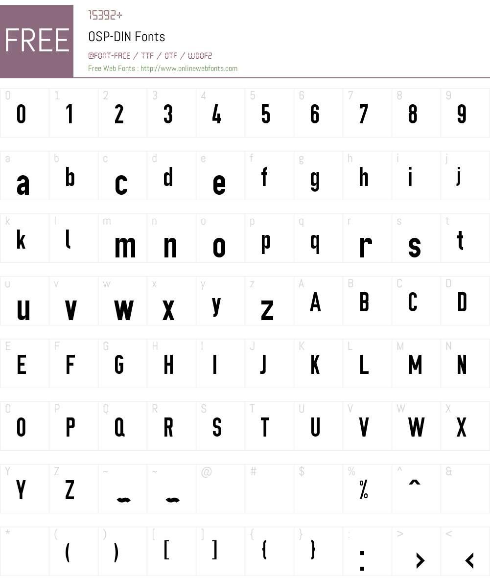 OSP-DIN Font Screenshots