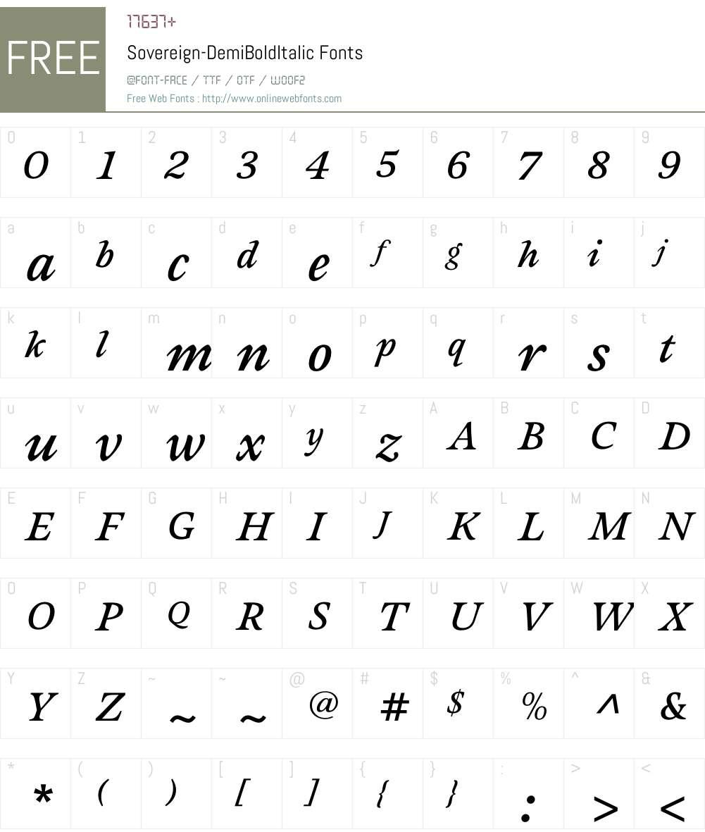 Sovereign-DemiBoldItalic Font Screenshots