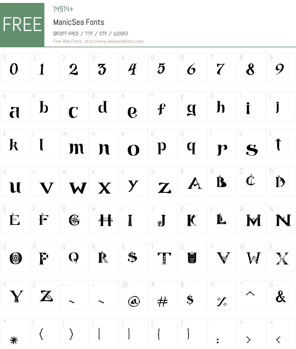 ManicSea Font Screenshots