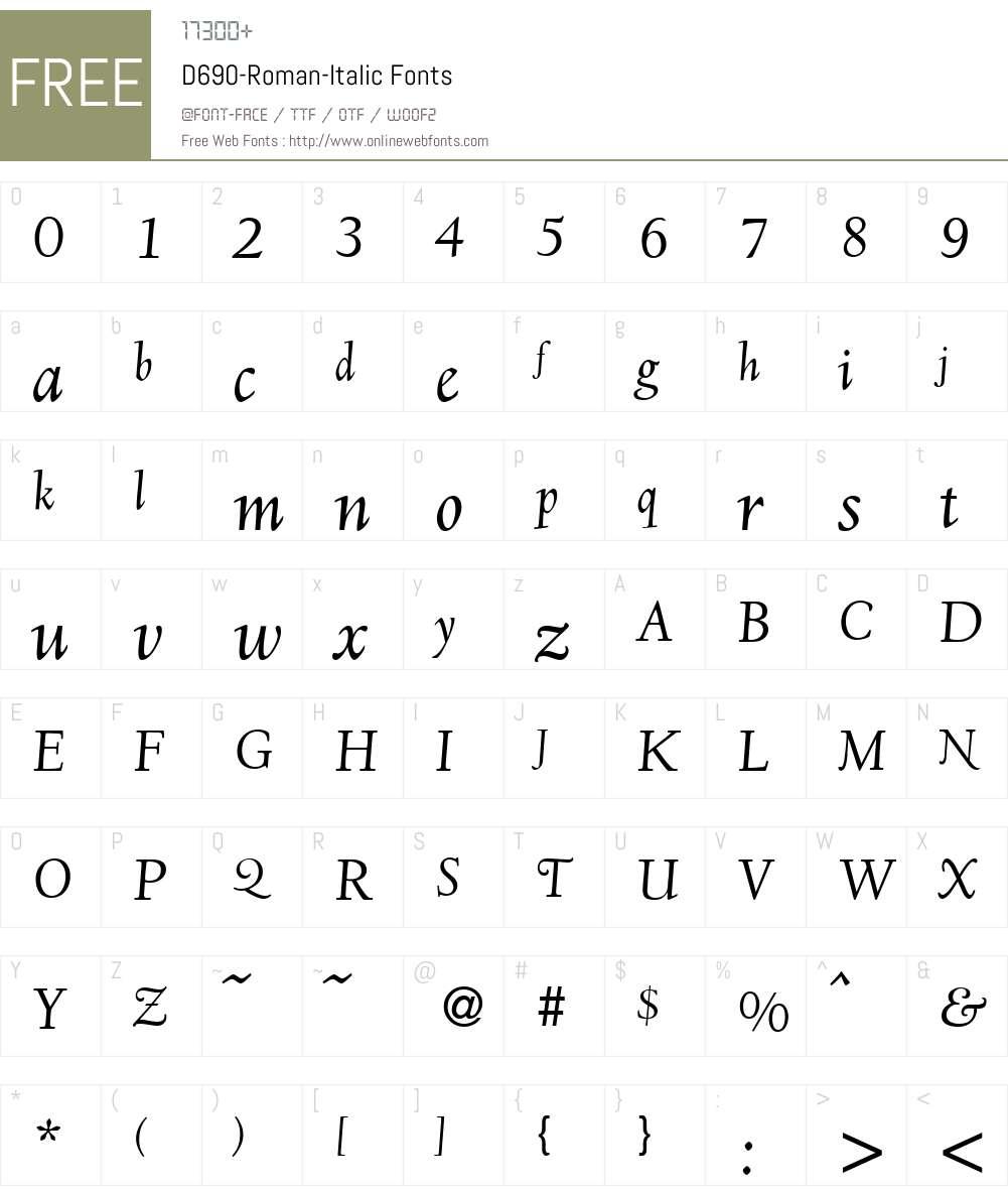 D690-Roman Font Screenshots