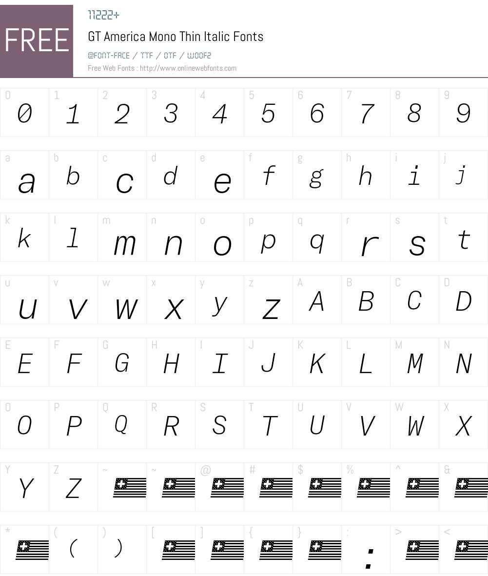 GT America Mono Thin Font Screenshots