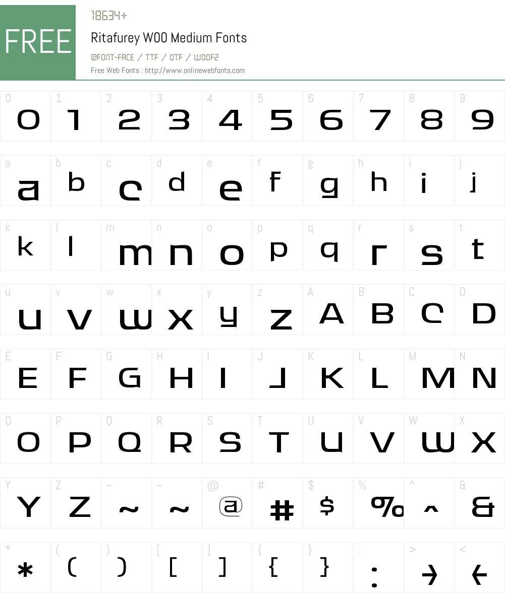 RitafureyW00-Medium Font Screenshots