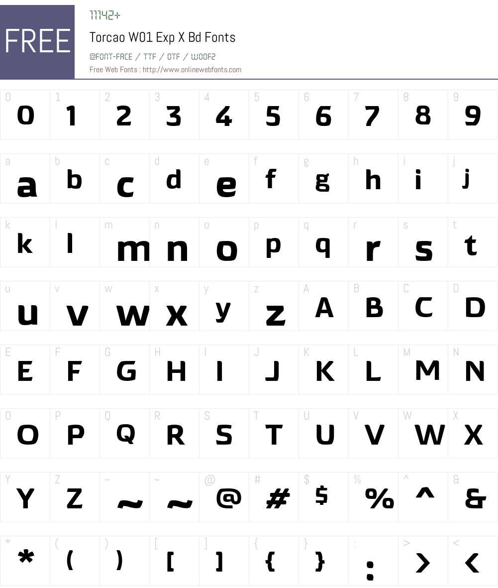 TorcaoW01-ExpXBd Font Screenshots