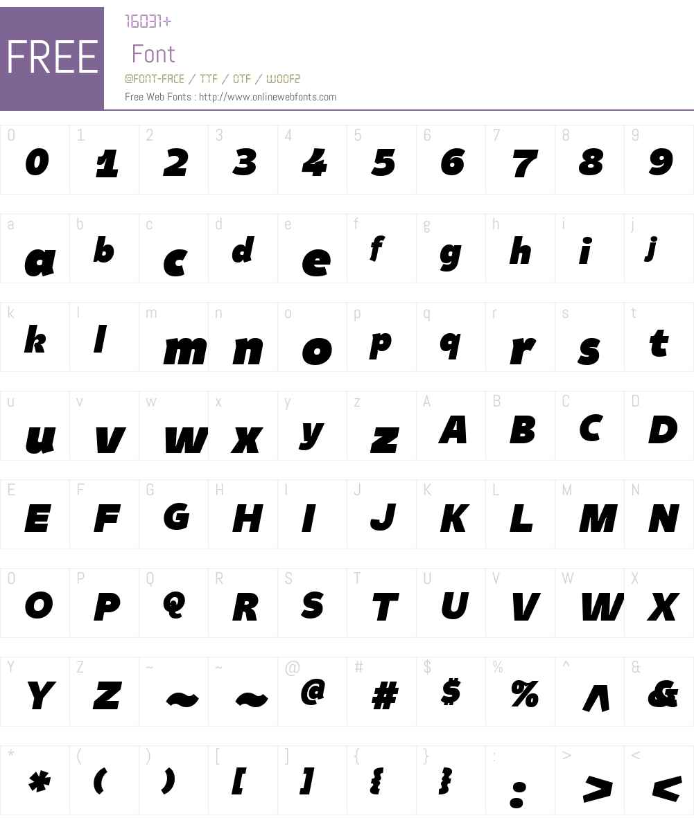 TasteW01-BlackItalic Font Screenshots