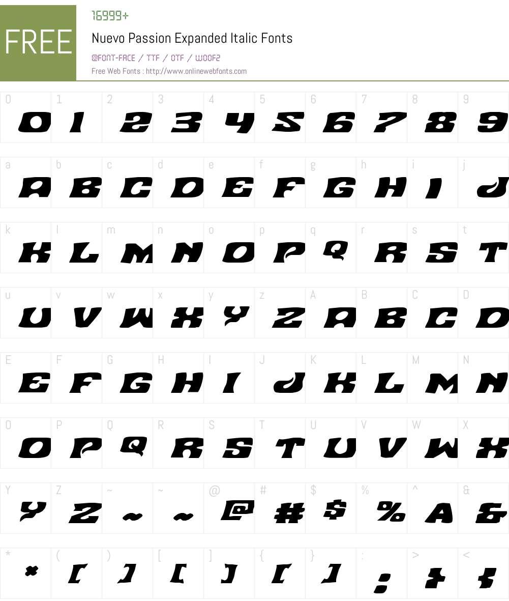 Nuevo Passion Expanded Italic Font Screenshots