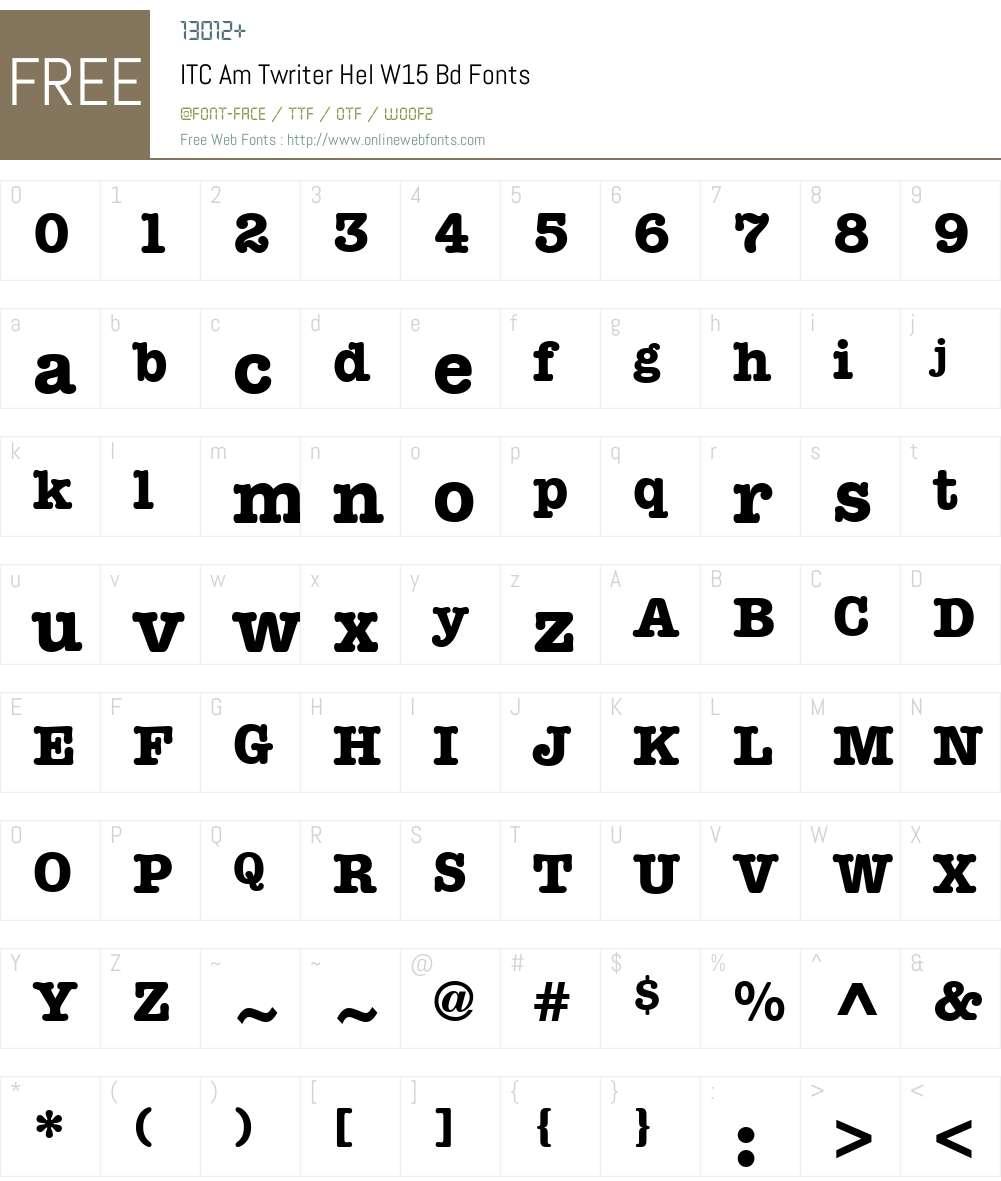 ITCAmTwriterHelW15-Bd Font Screenshots