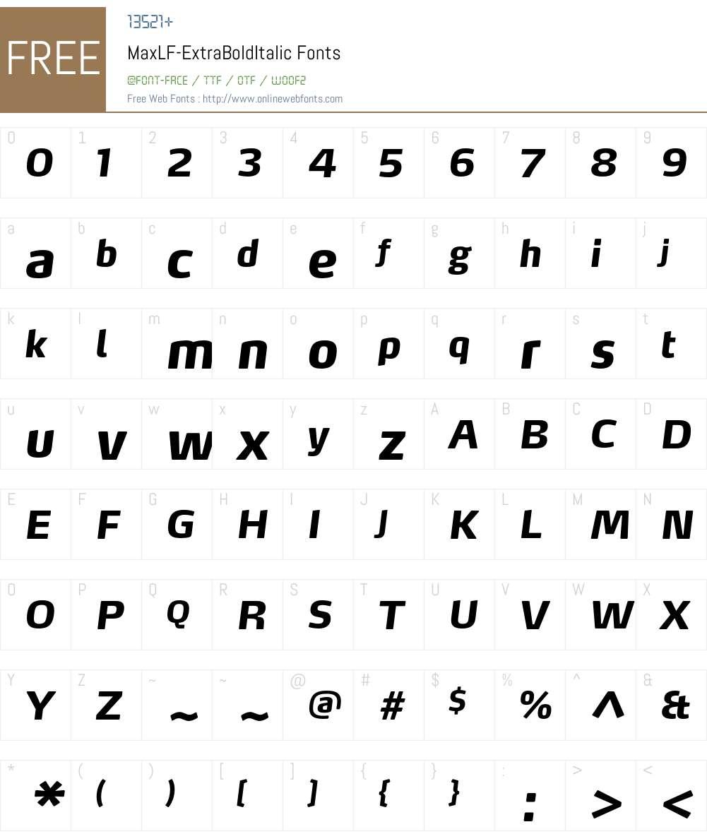 MaxLF-ExtraBoldItalic Font Screenshots
