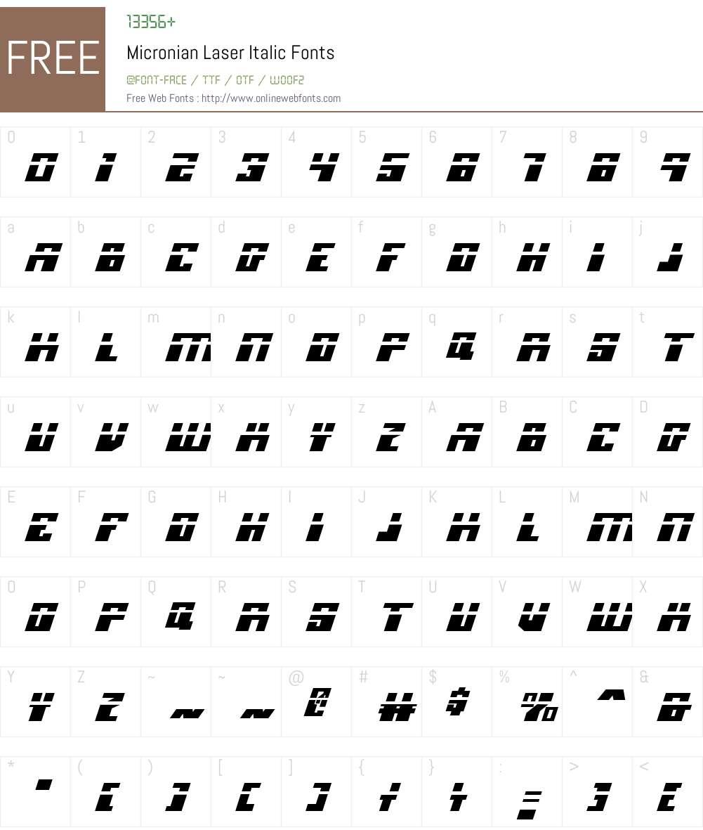 Micronian Laser Italic Font Screenshots