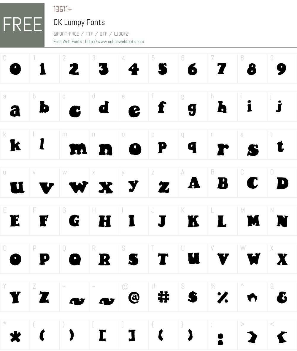 CK Lumpy Font Screenshots