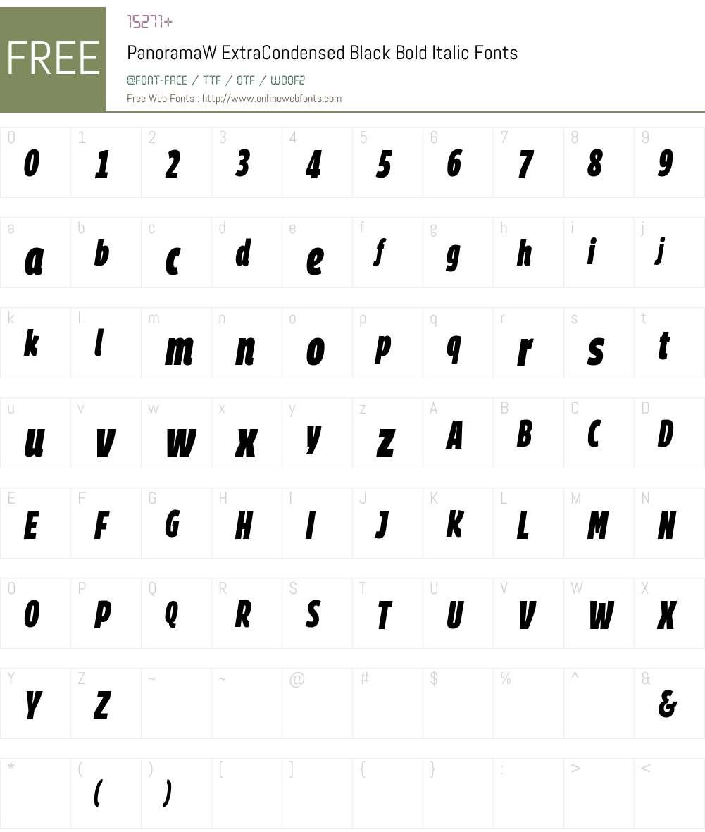PanoramaW ExtraCondensed Black Font Screenshots
