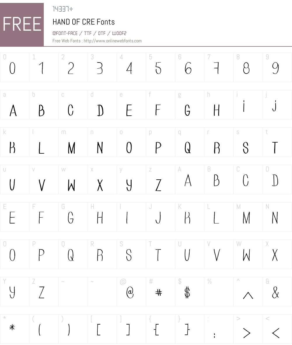 HAND OF CRE Font Screenshots