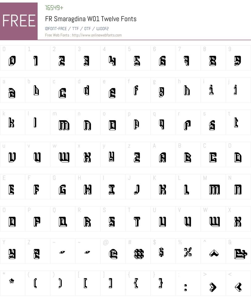 FRSmaragdinaW01-Twelve Font Screenshots