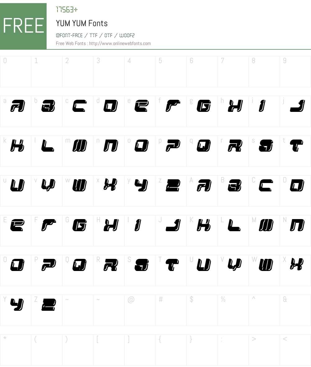 YUM YUM Font Screenshots