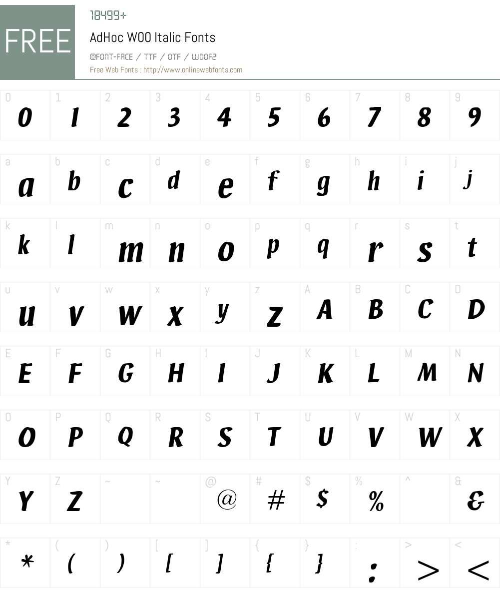 AdHocW00-Italic Font Screenshots