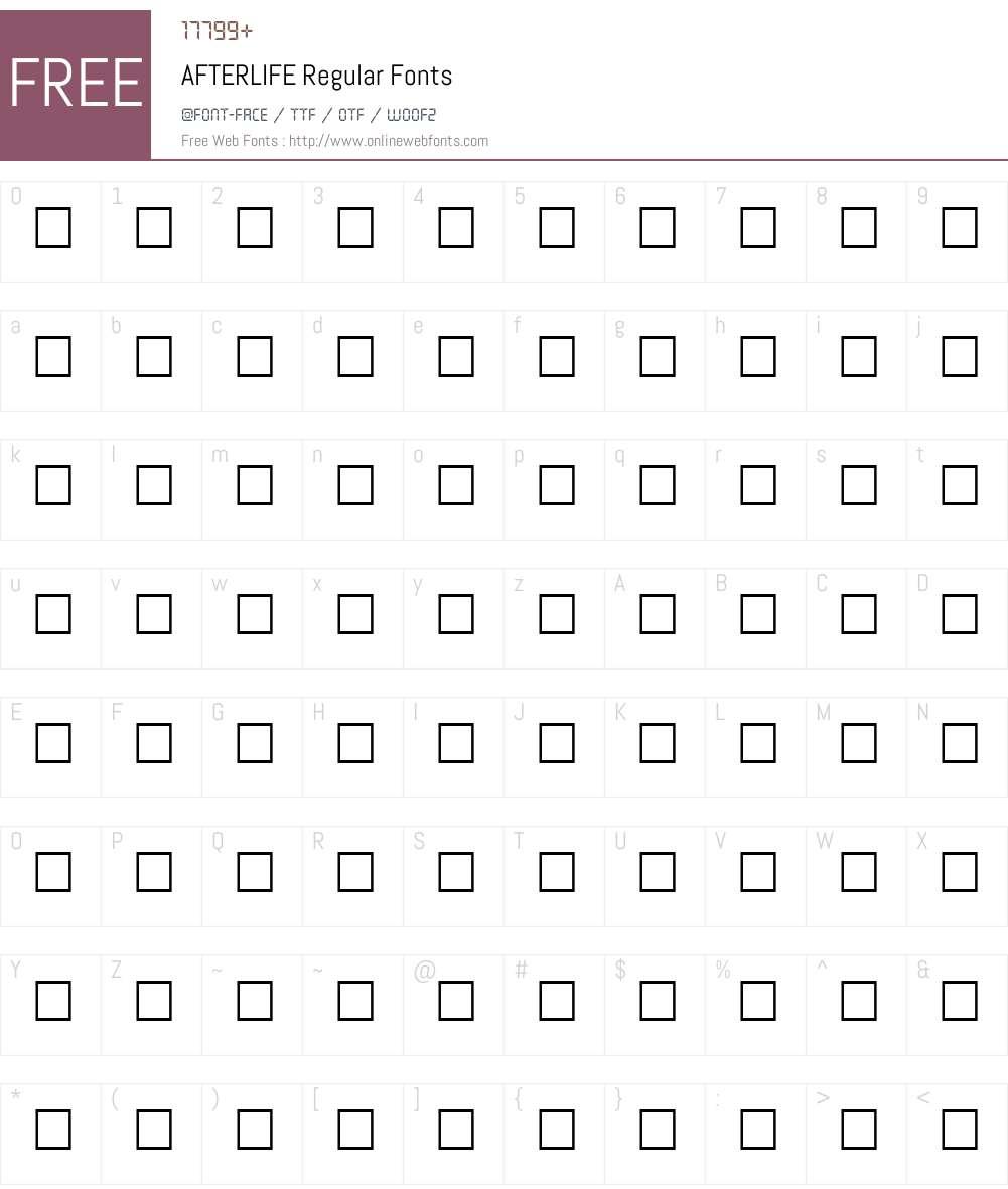 AFTERLIFE Font Screenshots