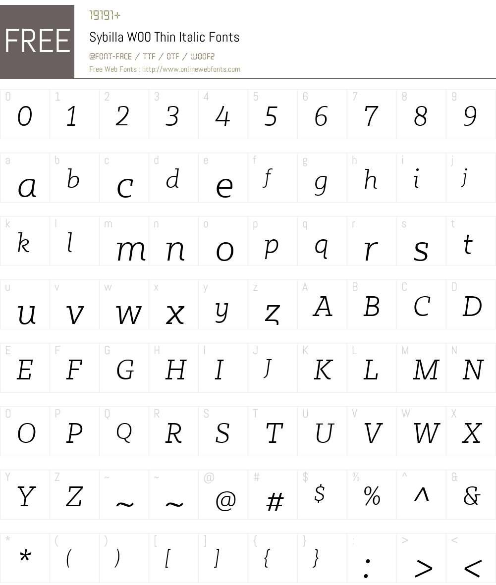 SybillaW00-ThinItalic Font Screenshots