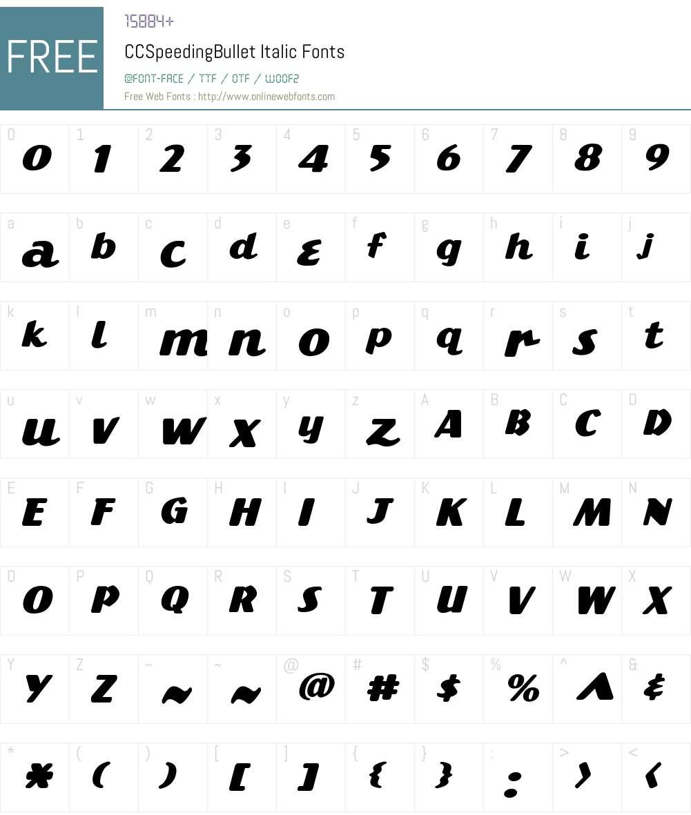 CCSpeedingBullet-Italic Font Screenshots