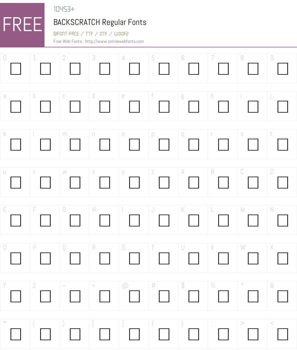BACKSCRATCH Font Screenshots