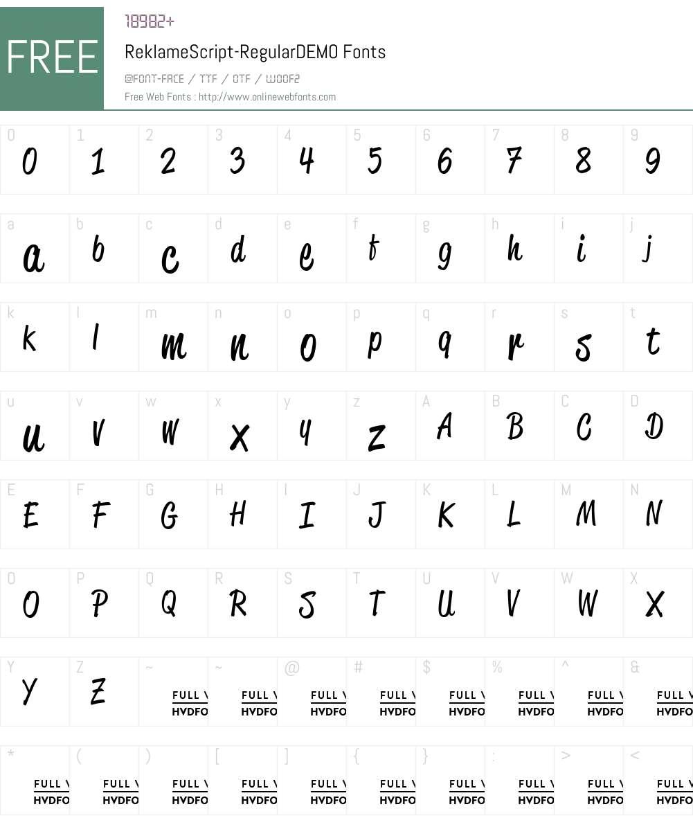 ReklameScript-RegularDEMO Font Screenshots