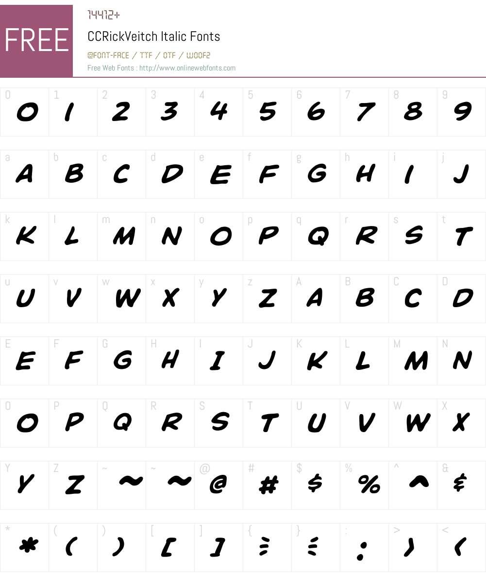 CCRickVeitch-Italic Font Screenshots