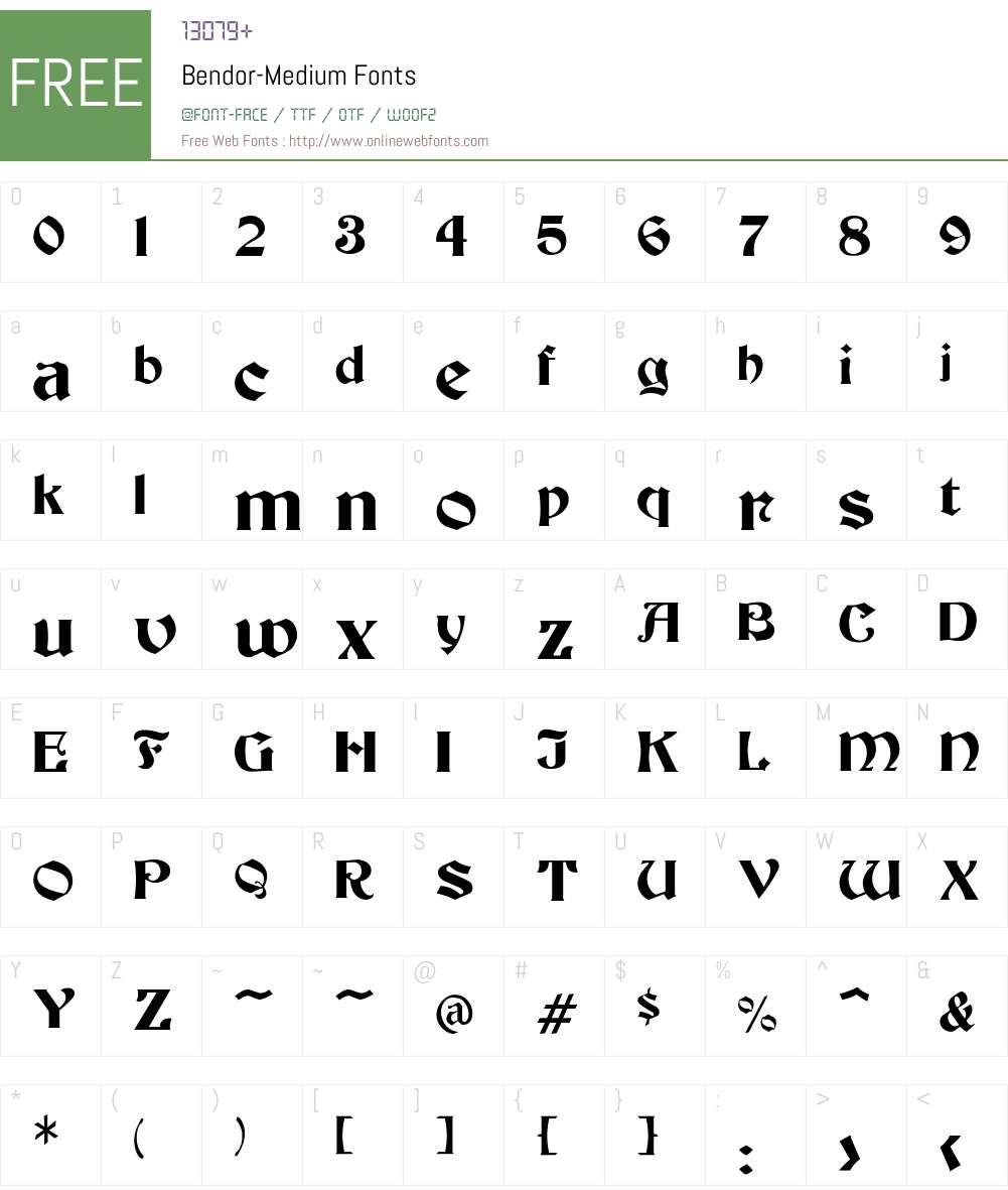 Bendor-Medium Font Screenshots